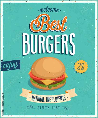 plakat-vintage-burgers-ilustracji-wektorowych