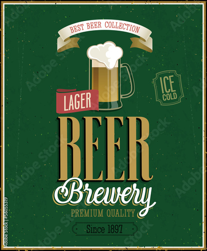 Vintage Beer Brewery Poster. Vector illustration.