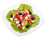 Fresh vegetable greek salad isolated on white background