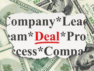 Finance concept: Deal on Money background