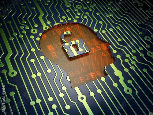Finance concept: Head With Padlock on circuit board background