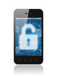 Smart phone with open lock on white background - 56056792