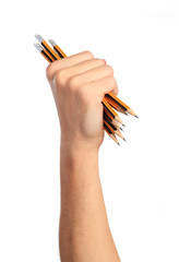 Fist with pencils