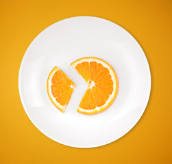 Slices of orange on a plate on color background