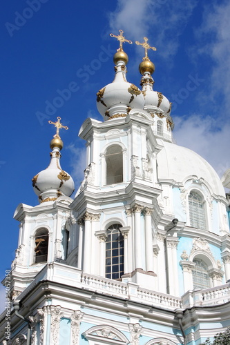 Domes of Smolny Cathedral in St. Petersburg, Russia
