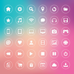 Set of icons on colorful background