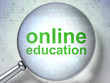 Education concept: Online Education with optical glass
