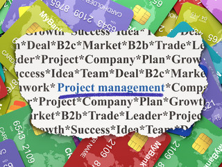 Business concept: Project Management on Credit Card background