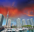 Toronto Harbourfront Centre. Sunset view in summer season