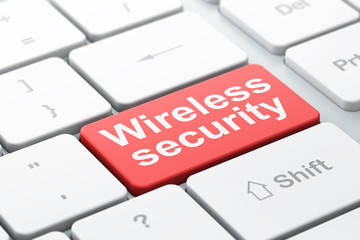 Protection concept: Wireless Security on computer keyboard backg