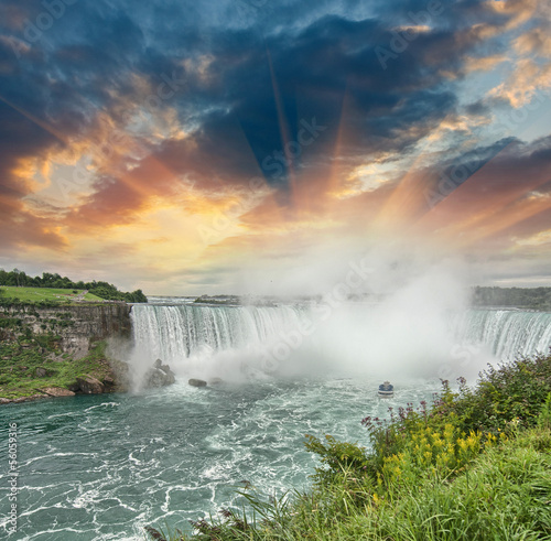 Niagara Falls. Beautiful side view at summer time