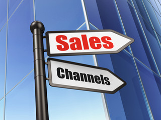 Marketing concept: Sales Channels on Building background