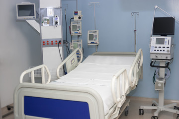 Equipped hospital room