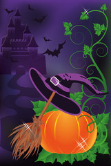 Happy halloween background, vector illustration