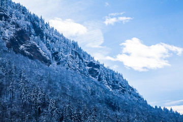 Beautiful winter landscape in the mountains.  Mountain area in t