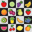 16 Fresh Fruits, polka dot tiles, apple, orange, cherry, banana