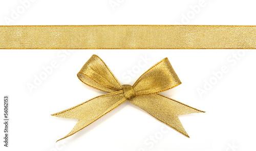 golden ribbon isolated on white - 56062153