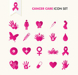 Cancer awareness elements icon set EPS10 file.