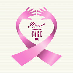 Breast cancer awareness ribbon text human hands composition EPS1