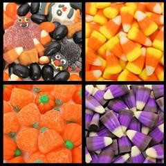 Four unique Halloween candy backgrounds
