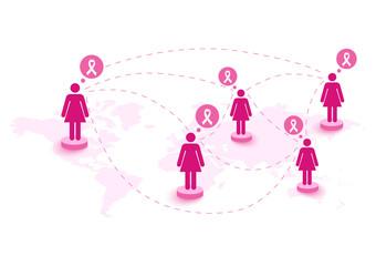 Breast cancer awareness ribbon women speech global map. EPS10 fi