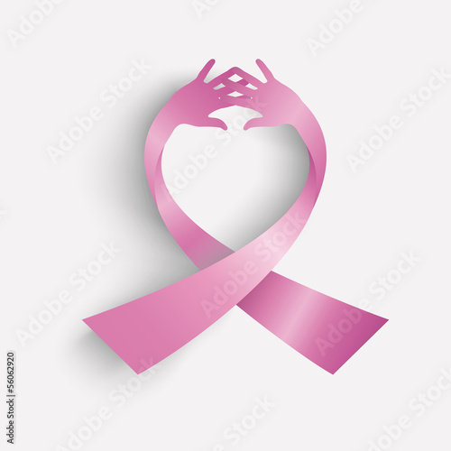 Cancer awareness ribbon icon human hands composition EPS10 file.
