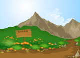 Scenic area vector cartoon nature background
