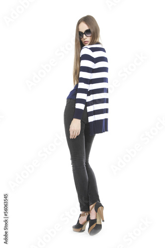 Pretty young woman in stripy shirt with sunglasses