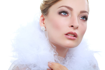 portrait girl is in fashion style. Wedding decoration. Isolated