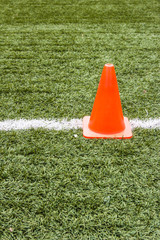 Artificial grass and traffic cones.