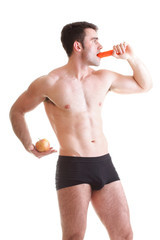 Apple carrot diet, man great body Isolated