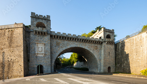 City gate in fortress wall in Pamplona