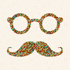 Retro illustration with hipster glasses and mustaches.