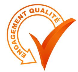 engagement qualité sur symbole validé orange