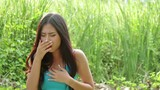 sick woman coughing : tripod HD