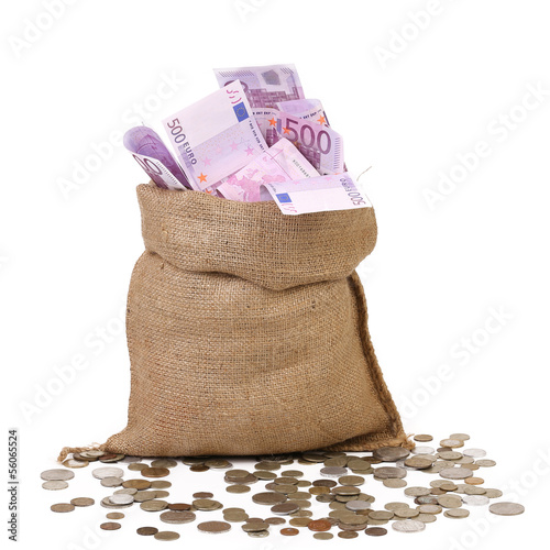 Bag with many Euro banknotes