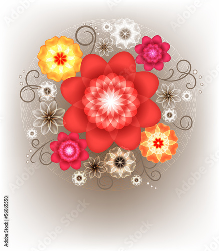 A bright bouquet for greeting card