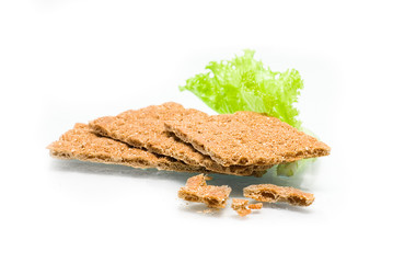 Crispbread and white isolated