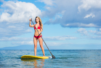 Woman on Stand Up Paddle Board in Hawaii