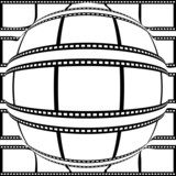 Positive filmstrip convex to sphere from center
