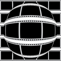 Negative filmstrip convex to sphere from center