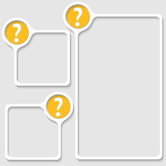 set of three frames for any text with question mark