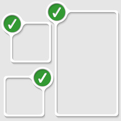 set of three frames for any text with check box