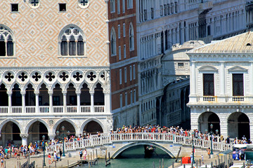 ancient and famous bridge of sighs near the Doge's Palace in Ven