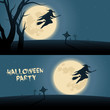 Halloween background with witch flying on a broom in a moonshine