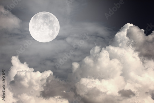 night sky with moon and clouds - 56068975