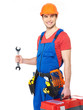 Portrait of smiling worker with tools