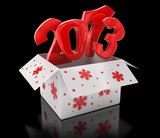 New year 2013 in box (clipping path included)