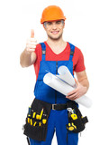 handyman with  paper showing thumbs up sign