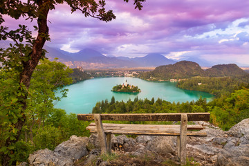 Lake Bled in Julian Alps, Slovenia.